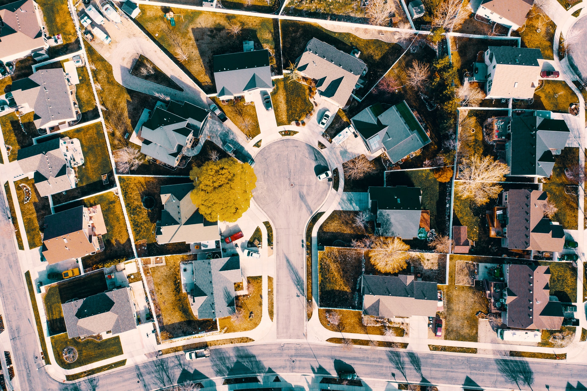 Aerial view of houses in a los angeles county neighborhood