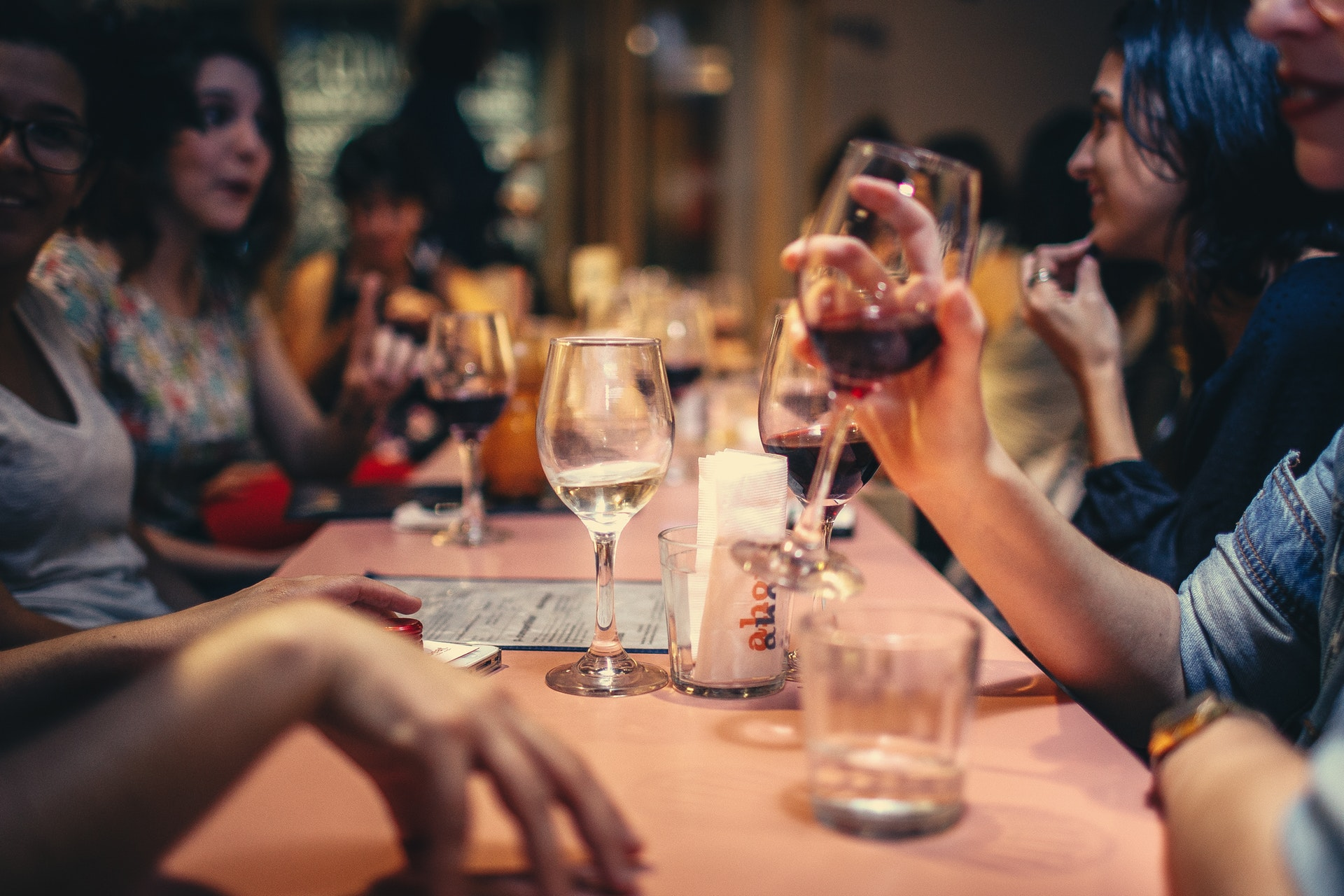 Group of single women drinking wine at a restaurant